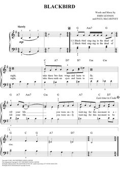 Blackbird (Easy Piano) Sheet Music Preview Page 1