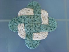 crochet celtic knot! I think the blue and white works better than the yellow and white I did.