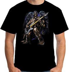 Velocitee Mens Skeleton Guitarist T Shirt Guitar Horror Goth Angel Biker A11250 #Velocitee