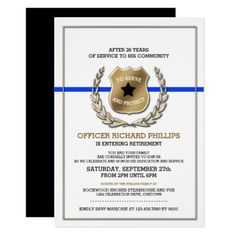 Police officer retirement invitation with badge number do it police officer retirement party invitation solutioingenieria Images