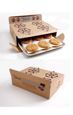 Thelma's Threats, a brand named after the owner's grandmother, chose a design for its cookies box that instantly conveys a sense of warmth and tradition coherent with the brand image. The packaging looks like an old stove and plays both on a nostalgic feelings and the freshness of the design. The cookies come out of the package as they would from the oven, which enhance the idea of home-made food and prevent them from damage. On top of that the box is environmentally-friendly.