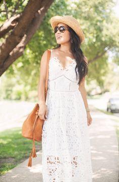 cute & little blog   petite fashion   white crochet lace maxi dress, tassel bucket bag, boaters hat   summer outfit