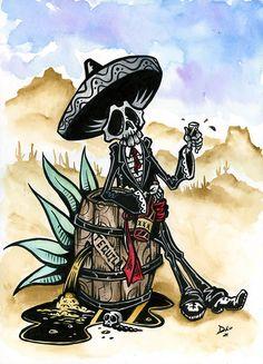 Day of the Dead artist David Lozeau paints Dia de los Muertos art, skeleton art, sugar skull art, and candy skull art in his unique Lowbrow art style. Tequila, Mexican Skulls, Mexican Folk Art, Los Muertos Tattoo, Bd Art, Day Of The Dead Art, Skeleton Art, Sugar Skull Art, Sugar Skulls