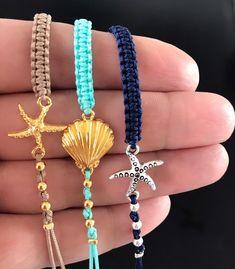 Hippie Jewelry, Cute Jewelry, Beaded Jewelry, Handmade Jewelry, Beaded Bracelets, Diy Bracelets Charms, Ocean Jewelry, Anklet Bracelet, Jewelry Necklaces