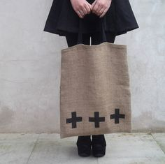 Burlap tote hessian sackcloth screen printed by handmadeinhighbury, $18.50