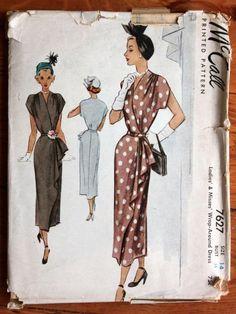 1949 McCall Printed Pattern 7627 Ladies' Wrap Around Dess Bust 32 Uncut