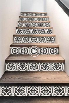 Stair Riser Stickers - Removable Stair Riser Tile Decals - Testino Pack of 6 in . - Stair Riser Stickers – Removable Stair Riser Tile Decals – Testino Pack of 6 in Black – Peel & Stick Stair Riser Deco Strips – long Source by - Tile Stairs, Basement Stairs, House Stairs, Tiled Staircase, Deco Tape, 3d Design, House Design, Steps Design, Tile Decals