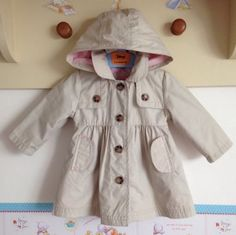 Worn Once Baby Girls Mothercare Rain Coat Trench Mac 3-6 So Cute Removable Hood