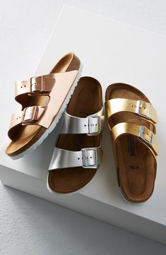 Adding a metallic twist to these classic Birkenstock sandals. Copper, gold and silver - oh my!
