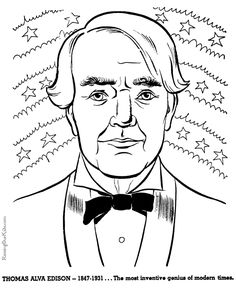 Thomas Edison - History coloring pages for kids 067