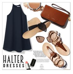Summer Halter by arethaman on Polyvore featuring polyvore, fashion, style, Eugenia Kim, It Cosmetics, Sigma Beauty, clothing, Fedora, summertrend, blackandbrown, halterdresses and blackhalterdress