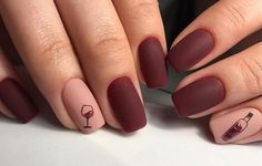 Matte burgundy manicure for square nails with a surprise