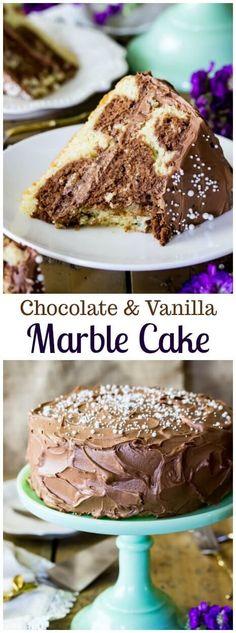 Chocolate and Vanilla Marble Cake from Sugar Spun Run! via @sugarspunrun