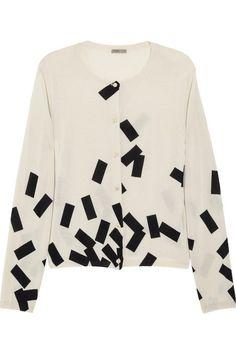 Bottega Veneta Brick-print cashmere and silk-blend cardigan