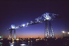 The iconic Transporter Bridge in the Infant Hercules (Gladstone said that) Middlesbrough. Made of British Steel from Lackenby near Redcar and open for over 100 years and still works each day ferrying people across the river Tees. A special place to me.