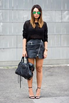 30 ways to wear a black leather skirt - open knit sweater, green mirrored glasses // Cashmere in Style