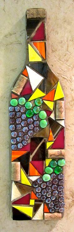 Mosaic Wine Bottle Wall Hangings by ShumpertCreations on Etsy Wine Craft, Wine Cork Crafts, Bottle Crafts, Wine Bottle Wall, Bottle Art, Wine Bottles, Wine Corks, Wine Glass, Mosaic Art Projects