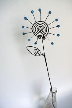 Květ - drátovaný zápich - tyrkysový