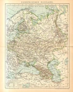 1894 Original Antique Map Showing the by CabinetOfTreasures