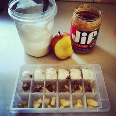 Homemade dog treats - frozen apples, peanut butter, & yogurt
