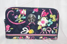 23f8789d87 Vera Bradley Turn Lock Wallet Clutch zip around black Pink Floral Print  Quilted  VeraBradley