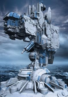 Kind of makes me think of the mobile forts from AC4. That's Armored Core, not Assassin's Creed.   Futuristic Dark Art by Markus Vogt