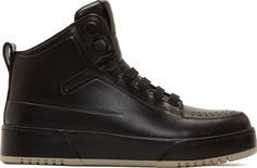 3.1 Phillip Lim Black Buffed Leather High-Top Sneakers