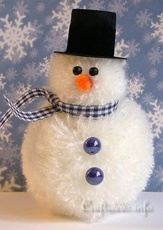 Christmas and Winter Crafts for Kids - Pom-Pom Snowman