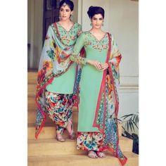 Light Blue Multicolored Floral Cotton Satin Suit