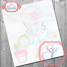 SunBonnet Sue Watering For Machine Embroidery - Vintage Embroidery Design INSTANT DOWNLOAD by SewEmbroidable on Etsy