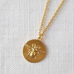 Yellow Gold Vermeil Bee Medallion Pendant