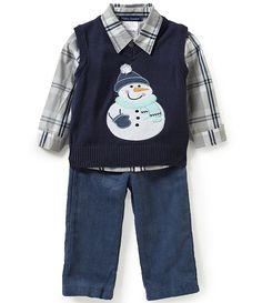 a066c27c90a1 Matt´s Scooter Baby Boys Months Christmas Snowman Sweater Vest, Plaid Woven  Shirt, and Corduroy Pants Set