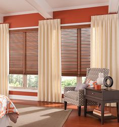 Bail Northern Heights 2 Wood Blinds shown in Bourbon