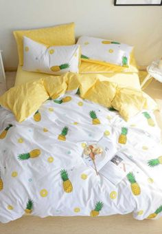 100+ Pineapple Bedding Sets! We have tons of pineapple bedding, comforters, duvet covers, quilts, sheets, throw pillows, shams, and more.