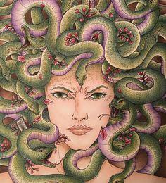 "98 Likes, 4 Comments - @natural_colourist on Instagram: ""Medusa  #meducember #kerbyrosanes #mythomorphia #animorphia #imagimorphia #adultcolouring…"""