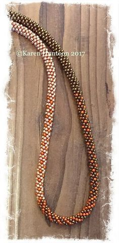 *Kumihimo 3-Color Blended Beaded Necklace - Bronze/Muscat/Saffron