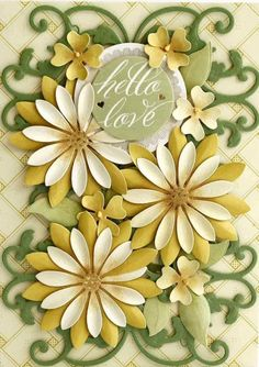 Card made with Anna Griffin's 3D Flower Cut and Emboss Dies