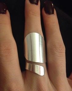 Sterling Silver Contemporary Statement Ring - Valentine- Adjustable size