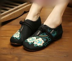 Women Casual Embroidered Flower Chinese Knot Button Slip on Fabric Shoes XZ007 #NIBOX #Espadrilles #Casual