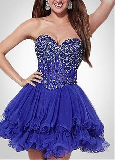 Stunning Tulle & Satin A-line Sweetheart Neckline Beaded Homecoming Dress
