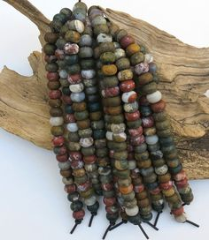 Matte Ocean Jasper LARGE HOLE beads  8x12mm by AvalonBeads on Etsy