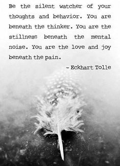 """""""You are the stillness beneath the mental noise. You are the love and joy beneath the pain."""" Tolle #quote"""