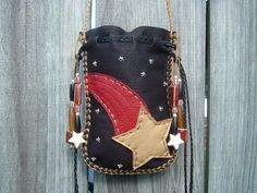 Deerskin Leather Medicine Bag with a SHOOTING STARS design on the front