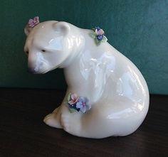 Llardo Polar Bear with flowers.  Retired in 2001. EXTREMELY rare.
