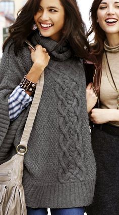 cable knit poncho and plaid