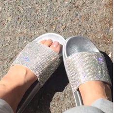 0f28cd3027a58f Crystal Diamond Bling Slides. Bling SandalsFlip FlopsWomens SlippersCrystals BeachSummerCrystal ...