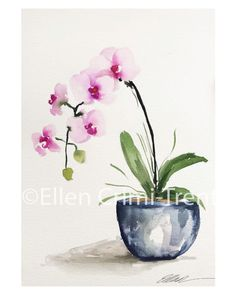 Orchid in a blue vase Original watercolor/ Watercolor Flowers/ Still life watercolor painting/ Original watercolor painting/ home decor - Orchid in a blue vase Original watercolor/ Watercolor Flowers/ Still life watercolor painting/ Orig - Flowers In Vase Painting, Simple Watercolor Flowers, Easy Flower Painting, Acrylic Painting Flowers, Abstract Flowers, Chalk Painting, Watercolor Artwork, Watercolor Trees, Watercolor Artists