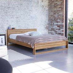 Solid Teak Double Bed for 2 People Exotic Natural Bedroom Furniture Simple Bed Designs, Double Bed Designs, Futon Bed Frames, Headboards For Beds, Wood Bed Design, Bedroom Bed Design, Bedroom Furniture, Furniture Design, King Bed Frame