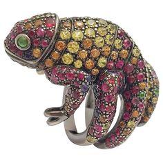 £14,259.28 Boucheron Sapphire Tsavorite Ruby Blackened Gold Ring