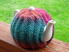 Tea-Dyed Wonderfulness: Knitted Teapot Cozy - Tea Cosy - Housewares Hostess Teapot Sweater Warmer - Teapot Cover